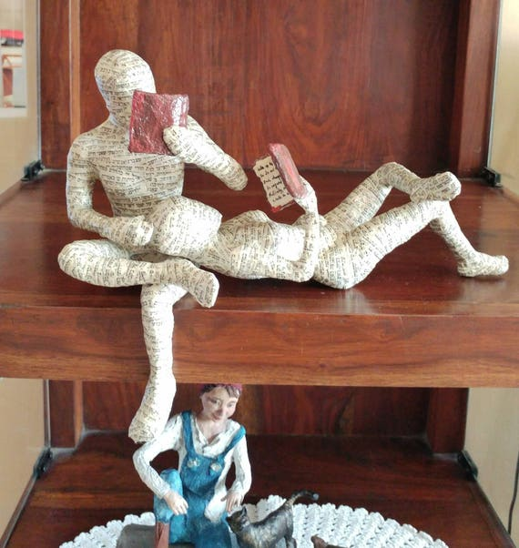 paper mache sculpture reading couple reading woman reading. Black Bedroom Furniture Sets. Home Design Ideas