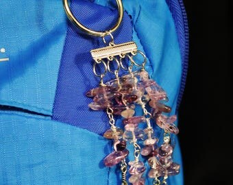 Amethyst Gemstone Key Chain with Silver Leaf and Feather Charms