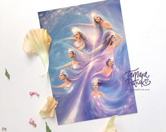 Postcard, Greetingcard (A6) 'The 7 Sisters' (Purple, Violet) Spiritual and Intuitive painting of the Hathors, Pleiades