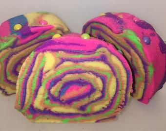 Rainbow Glitz bubble bar, solid bubble bar, cocoa butter bar, bubble chunk, birthday cake scent, sweet scent, bubble cake, rainbow colors