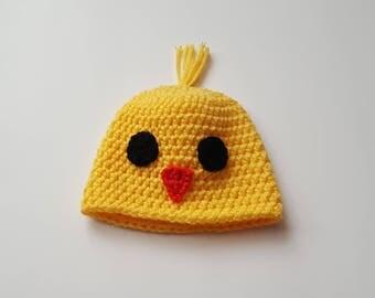 Newborn Crochet Baby Chick Hat/Newborn Photo Prop/Hospital Photo Prop/Ready to Ship
