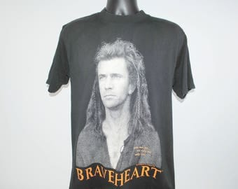 1995 Braveheart Rare Vintage Classic Mel Gibson William Wallace Wars Of Scottish Independence Biopic 90's Blockbuster Movie Promo T-Shirt