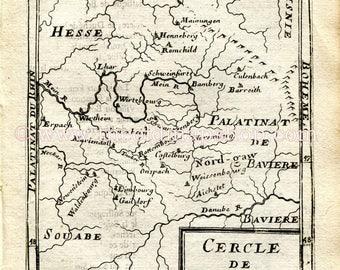 "1683 Manesson Mallet ""Cercle de Franconie"" Germany, Nuremberg, Bamberg, Wurzburg, Ansbach, Waldenburg, Gaildorf, Antique Map Print Engraving"