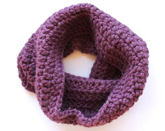 purple infinity scarf, purple cowl scarf, purple crochet scarf, purple wool scarf, purple knit scarf, crochet scarf, knit scarf, scarf