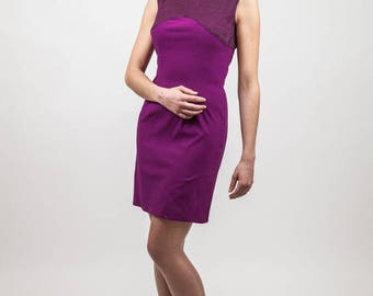 dress Fuchsia slim with plum lace insert