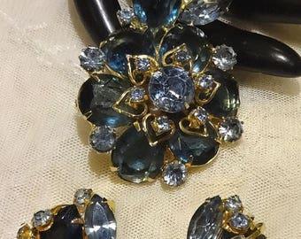 ON SALE Vintage Juliana Shades of Blue Rhinestone Brooch and Earrings