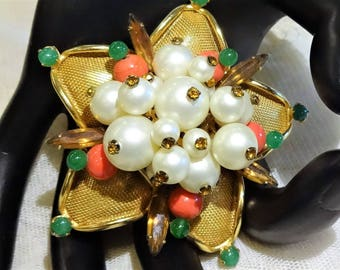 Pretty Vintage  Scaasi Faux Pearl,  Topaz Rhinestone Green and Coral Glass Bead Cluster Brooch