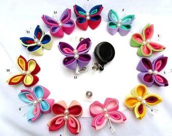 Kanzashi Butterfly Retractable ID Badge Holder PIck your Own Color Combination