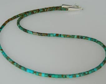 """Native American Navajo Kingman New Boulder Turquoise Heishi Sterling Silver Necklace 20 1/2"""""""