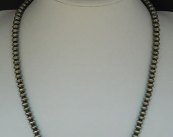 "Native American Navajo Antiqued Sterling Silver Rondelle Bead Long Necklace - Sandra Zambrano 22 1/4"" 1.66 Ounces"