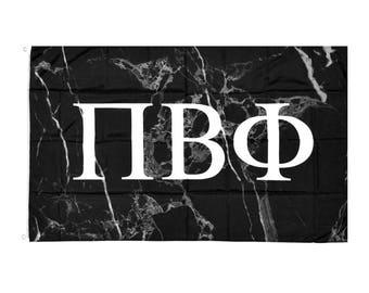 Pi Beta Phi Dark Marble Background White Letters Sorority Flag 3' x 5'