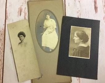 3 Vintage Antique Portraits of Beautiful Young Ladies Women Profile 1910's #7