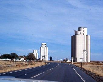 Grain Silos Great Plains Small Town USA 1960's Photo 35mm Slide Color Kodachrome