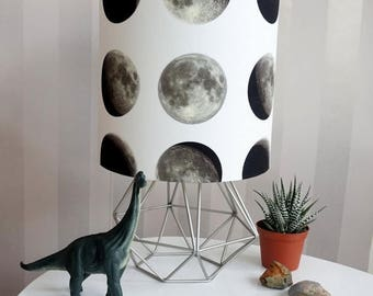 ON SALE Lunar Moon Lampshade - moon print - lunar -outer space - moon phase  lighting - quirky home - Gift for Home  - outer space  - Britis