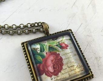 ON SALE Dark Pink Rose Flowers Square Tile Pendant Necklace // Gifts for Her // Birthday Gifts