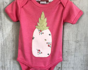 0 to 6 months- Blush Pink Pineapple- Handmade in Hawaii- Organic Cotton