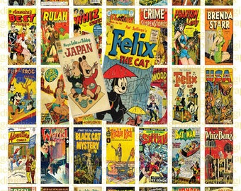 Retro Comic Book Covers 1X2 Domino Sized print out digital sheet.