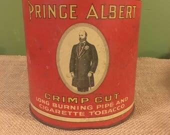 Prince Albert Tobacco Tin / Red Antique Prince Albert Tobacco Tin
