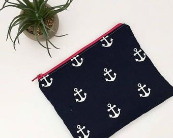Navy Anchor Zipper Pouch, Anchor Gift Card Holder, Hostess Gift, Beach Bag Pouch, Gift for Her, Gift Under 15, Nautical Pouch, makeup pouch