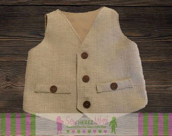 RING BEARER Cream Burlap Country Rustic Wedding Vest Infant Toddler Child Sizes thru Youth 10