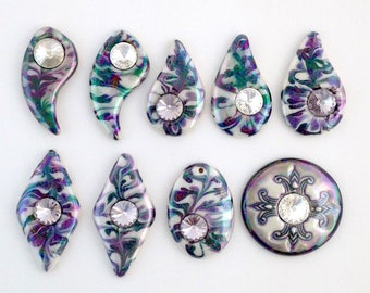 Porcelain focals, hand painted marbled designs in neutral black, white, grey or purple for your wire work, bead work or mixed media jewelry