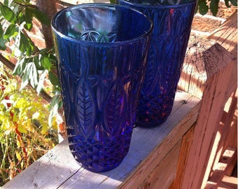 Vintage Cobalt Blue Glass Drinking Glasses Made in France