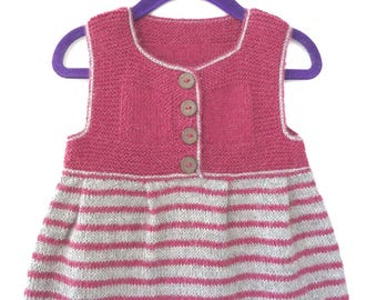 Hand knitted baby clothes, girl baby dress, knit baby sweater dress, baby girl clothes 100% alpaca wool gray pink stripes size 18 - 24 month