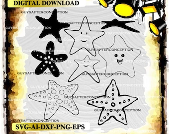 Eight Starfish Vector Images SVG Files Digital Cutting Files  Ai - Eps - PNG - DXF - Svg