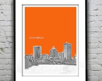 Rochester New York Skyline Art Print Poster NY Version 1