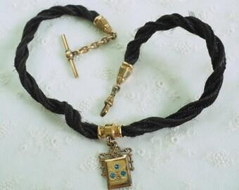 Victorian Woven Hair Pocket WATCH Chain Fob -  Edwardian - T Bar - Swivel Hook - Mourning Jewelry