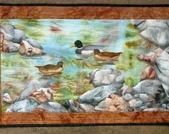 Hand painted fabric art quilt, wallhanging  - Rocky shoreline - fiber art