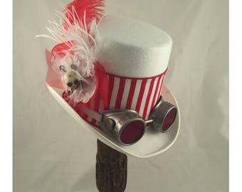 STEAMPUNK TOP HATS, White Top Hat, Steampunk Shop, Steampunk Accessories, White, Red, Ostrich