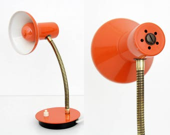 Vintage lamp // small orange gooseneck metal desk lamp