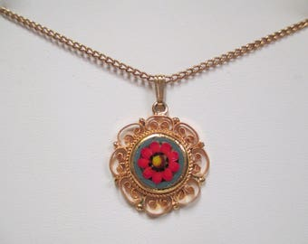 Vintage Italy Micro Mosaic Pendant Necklace,  Red Flower on Gold Tone Setting