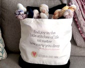 Yarn Love Tote Bag - find joy in the stitches of life, 100% canvas cotton, black and white bag