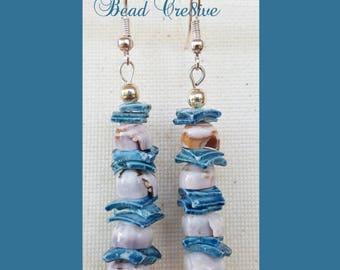 Turquoise and grayish seashell dangle earrings