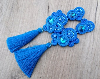 Long Tassel Earrings, Royal Blue Earrings, Clip On Earrings, Soutache Earrings, Blue Soutache Earrings, Long Clip Earrings