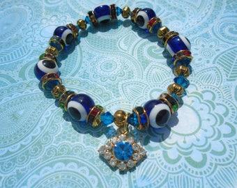 Swarovski Crystal Bracellete,Glass Evil Eye,Multicolor Swarovski Crystal Rhinestone Rondelle Spacer,Evil Eye Crystal Charm