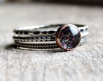 Sterling Silver & Copper Stacking Rings | Gypsy Stax Collection - 6mm Black Magic | Concave, Diva, Zip-It, Set of 3, Custom // Made to Order