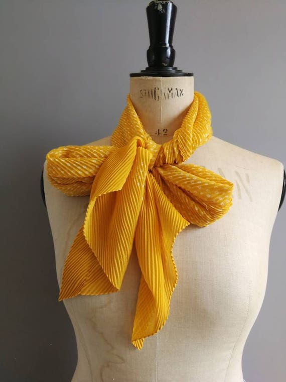 Vintage yellow scarf / 70s crinkle long scarf / retro yellow scarf with small white dots / wrap scarf / gift for her