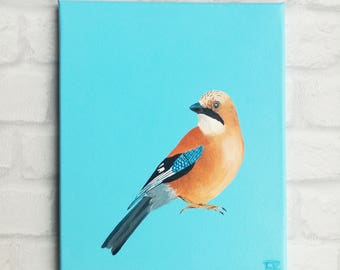 Painting of a jay bird painted on a blue background/Gaai op blauwe achtergrond
