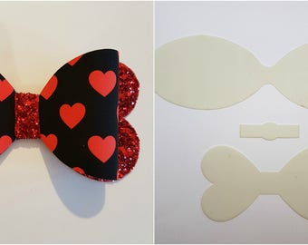 Hair bow plastic templates, make your own beautiful Hair bows 5 sizes, set, The 'True Love' Bow
