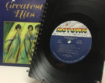 Recycled vinyl record notebook - Diana Ross and the Supremes and Donna Summer