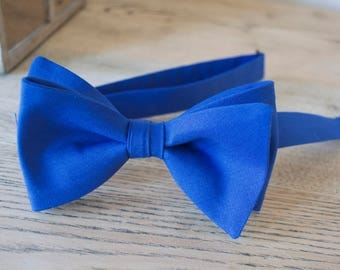 Blue mens ties,royal blue cotton bow tie,mens bow ties