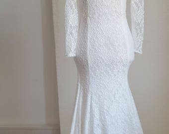 Long sleeved lace bohemian wedding dress, boho open back wedding dress, open back long sleeved lace wedding dress, bohemian lace open back