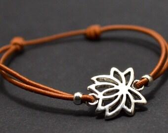 Flower lotus bracelet brown