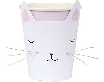 Cat Party Cups (Set of 8) - Meri Meri Kitty Cat with Whiskers 9oz. Paper Cups