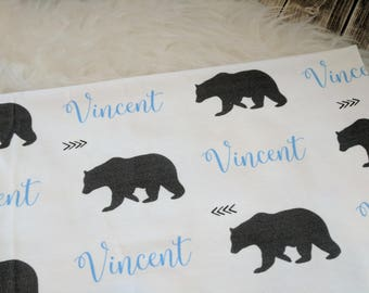 Personalized bear swaddle blanket: baby and toddler personalized name newborn hospital gift baby shower gift