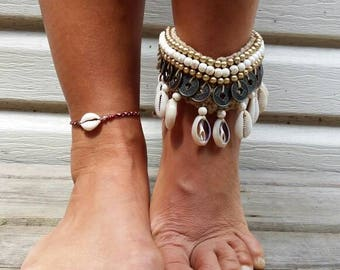 Kalani Shells Coins Multiways Necklace Bracelet Anklet Bohemian