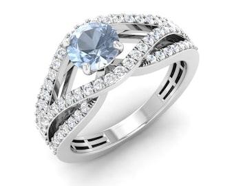 Round Aquamarine Ring | Aquamarine Engagement Ring With Diamond 14K Gold | Anniversary Gift | Diamond Engagement Ring | Certified Aquamarine